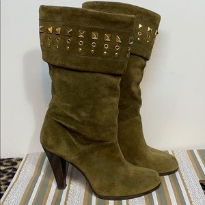 Michael Kors Olive Suede Leather Studded Boots